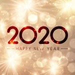 Shiny Happy New Year 2020 card with gold fireworks. Vector background.